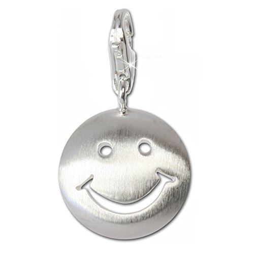 SilberDream 925 Sterling Silber Charm Smiley Silber Anhänger für Armband Kette Ohrring FC3111