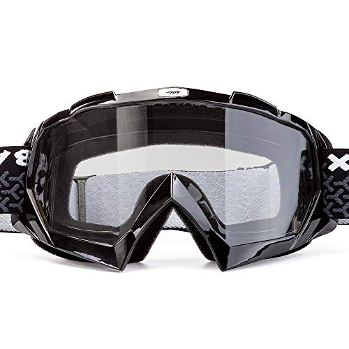 BATFOX Motorcycle Goggles Dirt Bike ATV Motocross Safety ATV Tactical Riding Motorbike Glasses Goggles for Men Women Youth Fit Over Glasses UV400 Protection Shatterproof (Clear lens/Black frame)