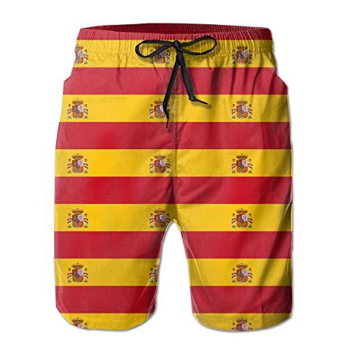 STDKNSK9 Mens Spain Flag Boardshorts Swimming Shorts