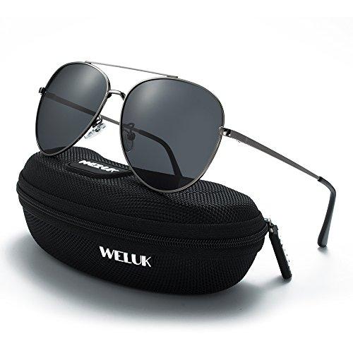WELUK Classic Aviator Sunglasses Men Women Metal Driving Pilot Fishing Glasses (Grey & Grey, - Metal Sunglasses Aviator