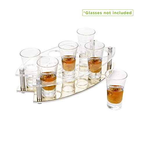 (Mind Reader OVSHOT13-CLR 13 Oval Tray, Shot Glass Display for Barware, Acrylic Transparent Holder, Clear, One Size Slots)
