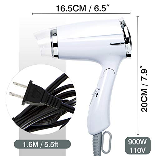 Folding Hair Dryer Compact Travel Blow Dryer Professional Salon Hair Dryer Negative Ionic Low Noise Hair Dryer 3 Heat Settings Lightweight Mini 8x7inch