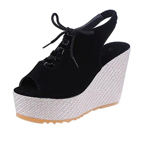 Lace Up Slingbacks (Women Wedge Sandals, SUKEQ Women Fashion Suede Wedge Platform Peep Toe Sandals Ankle Strap Hollow Out Lace Up Slingback Shake Shoes (5.5 B(M) US, Black))
