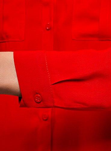 oodji Viscose en Poitrine Poches 4500n Ultra Chemisier Basique Femme Rouge avec de wXrwpqR4