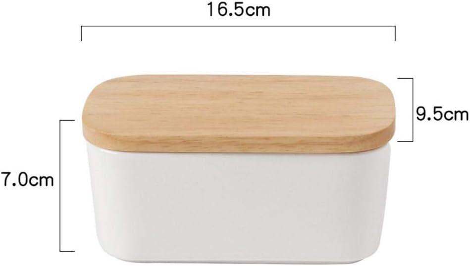 Contenedor De Caja De Almacenamiento De Plato De Mantequilla De Porcelana con Mantequilla De Tapa De Madera para La Cocina VENTDOUCE Plato De Mantequilla De Porcelana