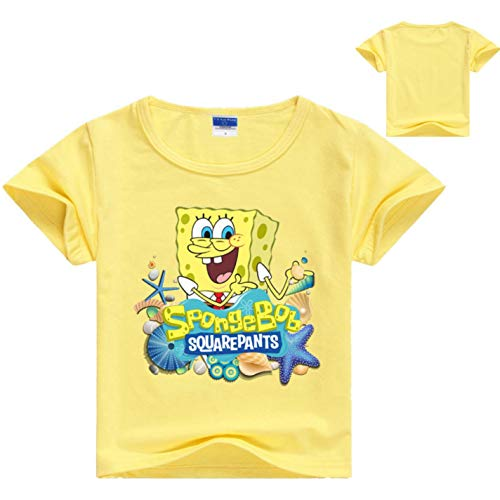 (Cartoon Sponge Bob Boys Girls Summer Clothes Toddler Tops Tee Kids T-Shirt Yellow)