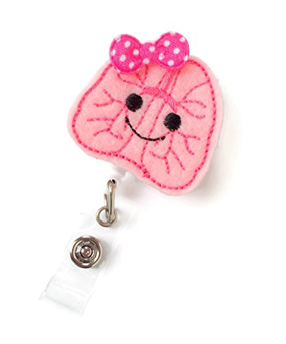 Lulu the Lung - Retractable Id Badge Reel - Rt Badge Holder - Cute Badge Reel - Nurse Badge Holder - Respiratory Specialist Badge Clip - Pulmonary Badge Reel