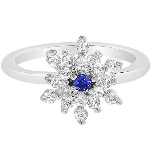 In Season Jewelry Rhodium Plated Snowflake CZ & Blue Crystal Princess Girl Childrens Ring