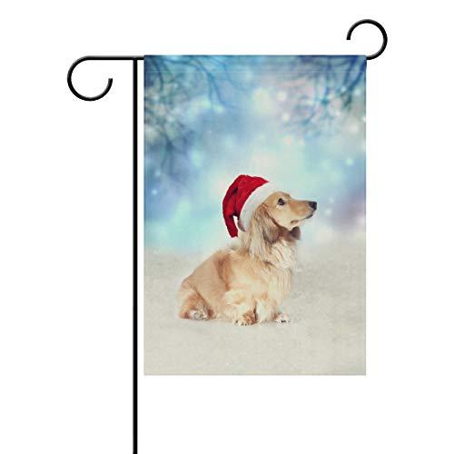 SUABO Christmas Decor House Yard Flag 12x18 inch Double Sided Garden Flag with Dachshund Dog Printed