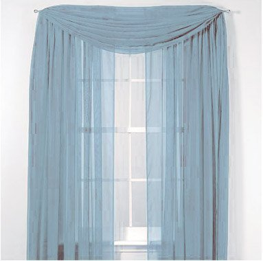 LuxuryDiscounts Beautiful Elegant Solid Slate Blue Sheer Scarf Valance Topper 40