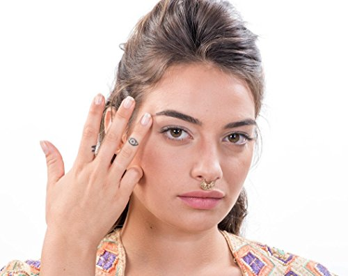 Handmade Designer Septum Ring Piercing, Arab / Indian Style Jewelry, 14K Gold, 16-20 Gauge, Diameter selection by Alagia