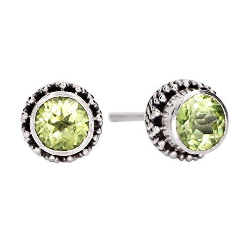Luna Azure Green Olivine Peridot Gemstone Birthstone 925 Sterling Silver Stud Earrings by Luna Azure