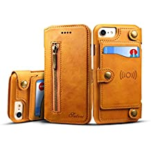 iPhone 8P /7 Plus Cover Leather,TACOO Zipper Credit Card Business Card Holder Money Slot Slim Soft Fashion Removable Protective Wallet Phone Case Shell for Apple iPhone 6 Plus/6s Plus