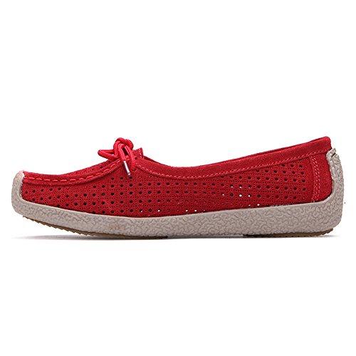 Lucksender Femmes Nubuck En Cuir Creux Chaussures Plates Mocassins Rouge