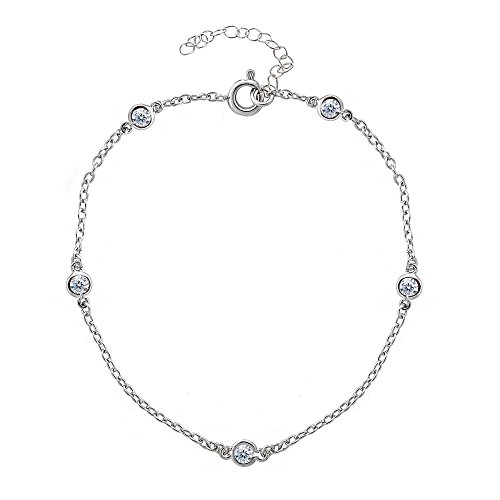 Sterling Silver Cubic Zirconia Station Dainty Chain Anklet ()