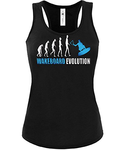 WASSERSPORT - WAKEBOARD EVOLUTION - mujer camiseta Tamaño S to XXL varios colores S-XL Negro / Azul