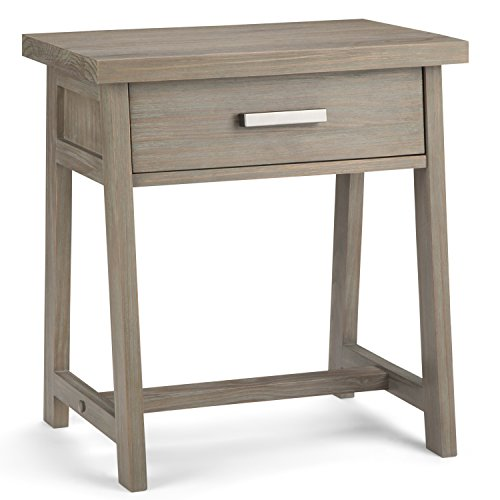 Simpli Home AXCSAW-BS-GR Sawhorse Solid Wood 24 inch wide Modern Industrial Bedside Nightstand Table in Distressed Grey ()