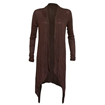 WOMENS LADIES VISCOSE ITALIAN MADE WATERFALL OPEN CARDIGAN ONE ...