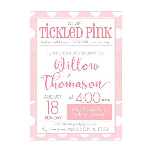 Set of 12 Personalized Baby Shower Invitations and Envelopes Tickled Pink Design Girls NV9061 ()
