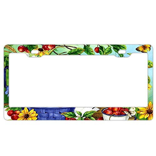 Newshowlee License Plate Frame for US Cars, Metal Auto Car Tag for Women/Men, 12 x 6 Inches. Goldfinch & Cherries in Basket