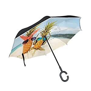 ALAZA Funny Pineapple Love on the Sand Beach Inverted Umbrella, Large Double Layer Outdoor Rain Sun Car Reversible Umbrella