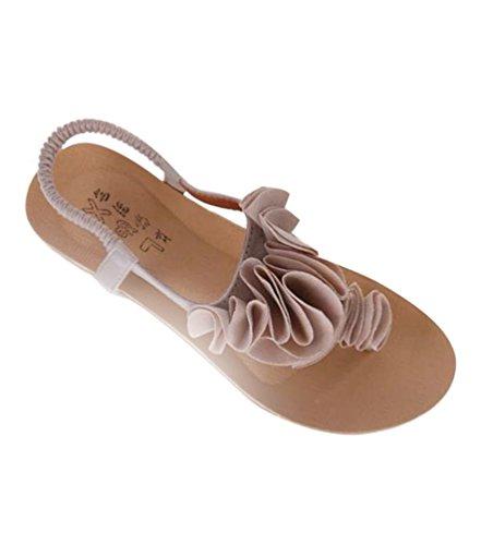 Clip Tongs T Fleurs Sandales Toe Chaussures Beige de Boho Plateforme Femmes Plage YOUJIA Strap TtqCwBB7