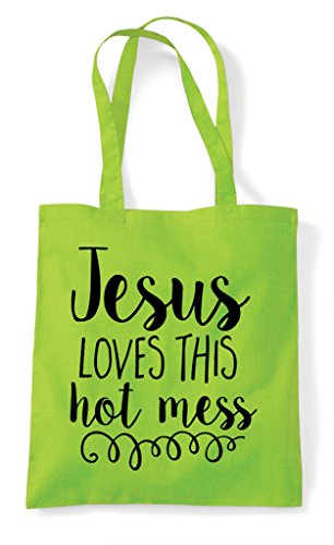 Loves Statement Religious Lime Bag Mess This Tote Shopper Jesus Hot Pq4wU