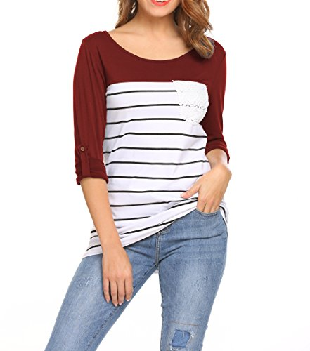 Asymmetrical Sleeve (Hount Womens Scoop Neck Loose Blouse 3/4 Sleeve Asymmetrical Tunic Tops Plus Size (Wine Red, S))