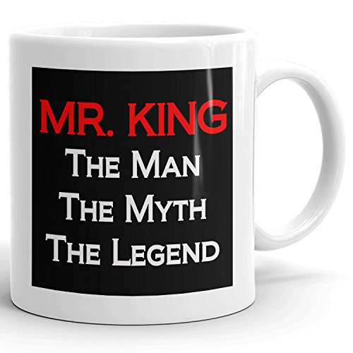 Mr. King Coffee Mugs - The Man The Myth The Legend - Best Gifts for men - 11oz White Mug - Red