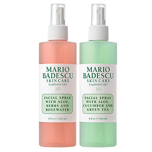 Mario Badescu Facial Spray with Rosewater & Facial Spray with Green Tea Duo, 8 oz. ()