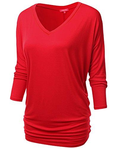 NINEXIS Womens V-Neck 3/4 Sleeve Drape Dolman Top RED ()