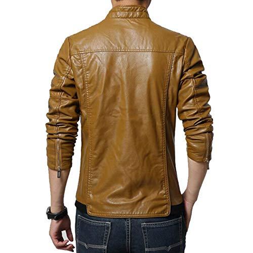 Collar Hombres Casual Motocicleta Black Invierno Cuero PU Coat Classic De De Exterior Vintage Larga Otoño De C M Fit Chaquetas La Stand Chaqueta Slim Khaki Roja Warm Cremallera Manga qOrqHwCIxn