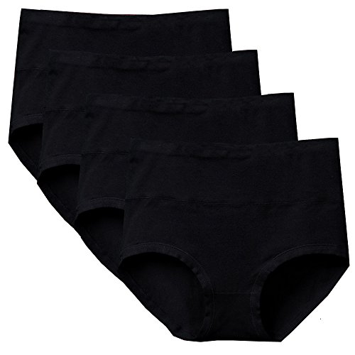 Bossail Womens Comfort Cotton Stretch High Waist Briefs Panties, Black (Pack of 4) (Black, XL)