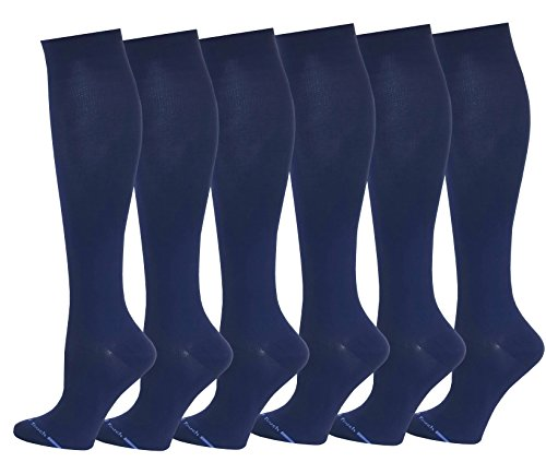 - 6 Pairs Pack Women Travelers, Anti-Fatigue, Graduated Compression Knee High Socks 9-11 (Navy)