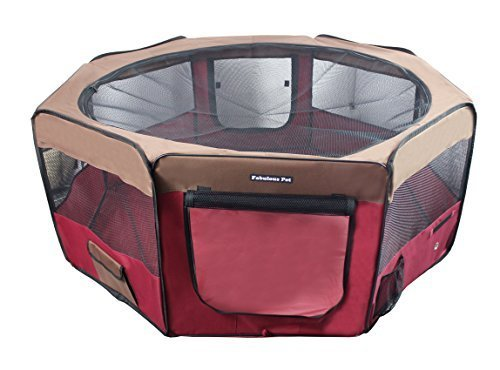 Fabulous Pet Water Resistant Portable Doggie, Dog, Puppy, Cat, Kitten Play Pen, Large Size