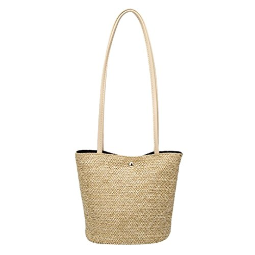 Bucket erthome Straw Bag Women Fashion Woven Shoulder Handbag Casual Daily Beige Bags Bag 8q8Argx