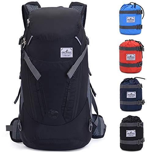 VEVESMUNDO 30L Hiking Backpack Packable Lightweight Waterproof Foldable Daypack with Hydration for Men Women for Climbing Camping Cycling Bicycle Travel (Black)