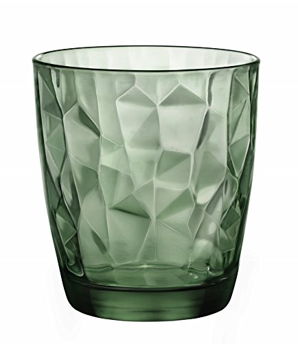 Bormioli Rocco Diamond 13.25 oz. Double Old Fashioned Glass, Forest Green, Set of (Old Green Glass)