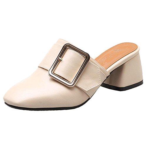 Mujer Ancho Tacon Beige Mules Shoes RAZAMAZA TqdvE1d