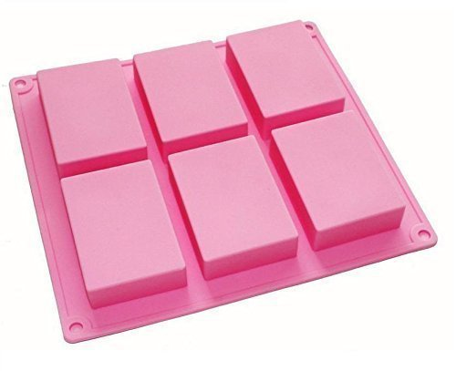Soap Mould (HOSL 6-cavity Plain Basic Rectangle Silicone Mould for Homemade Craft Soap Mold, cake mold, Ice cube)