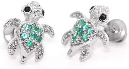 Sterling Silver Rhodium Plated Green Turtle Cubic Zirconia Screwback Baby Girls Earrings