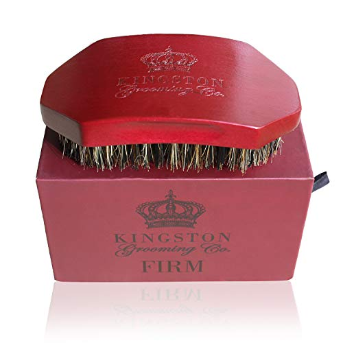 Kingston Grooming- FIRM Boar and Nylon Bristle Hair Brush- Premium Wave, Hair and Beard Brush for Men with Travel Box.