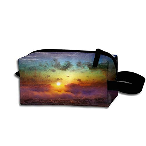 JONHBKD Moon Sun Decline Evening Merge Day Night Pencil Case Pouch Waterproof Multi-Purpose Storage Tote Tools Nylon Bag Cosmetic Makeup Bags with Zipper and Hanging Loop