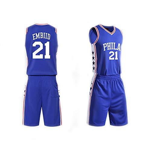 Camiseta De Baloncesto para Hombre Set Top+Shorts,Joel Embiid # 21 NBA Philadelphia 76Ers,New Fabric Sports Jersey…