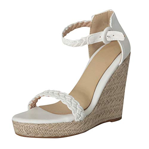 Sharemen Womens Platform Espadrille Wedges Peep Toe High Heel Sandals with Ankle Strap Buckle Up(White,US: 7.5) by Sharemen Shoes (Image #7)