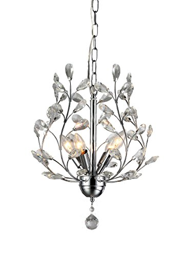 Whse of Tiffany Rl8026 Marie 4-Light Chrome 13 Crystal Chandelier, 14 X 14 X 7