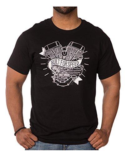 HARLEY-DAVIDSON Mens Distressed Motored Short Sleeve Crew T-Shirt, Black
