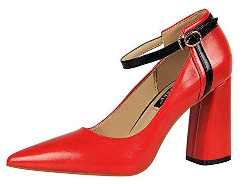 Rouge Bout Boucles Femme Aisun Escarpins Avec Pointu Mode Cheville w8EES6q