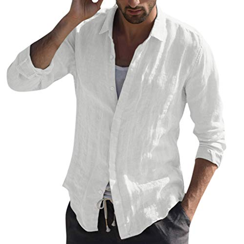 Baiggooswt Men's Shirt Casual V Neck Long Sleeve Baggy Cotton Linen Solid Color Button Down T Shirts Business Blouse White