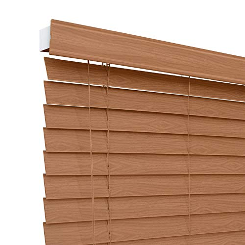 CHICOLOGY Custom-Made 2-inch Faux Wood Blind, Simply Brown,Horizontal Window Shade/Inside Mount, 32